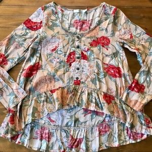 MINKPINK Floral Long Sleeve High Low Shirt